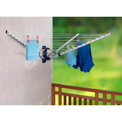 FaltbareWand-Wäschespinne 18 Meter Wäscheleine – auf einem Meter verstaut.