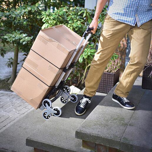 Das smarte Dreiradsystem ist die ideale Unterstützung zum mühelosen Rauf- und Runterfahren von Treppen.
