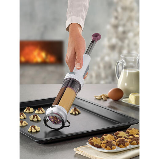 2-Kammer-Kekspresse Schwarz-Weiß- und Spritzgebäck einfach mit einem Klick.