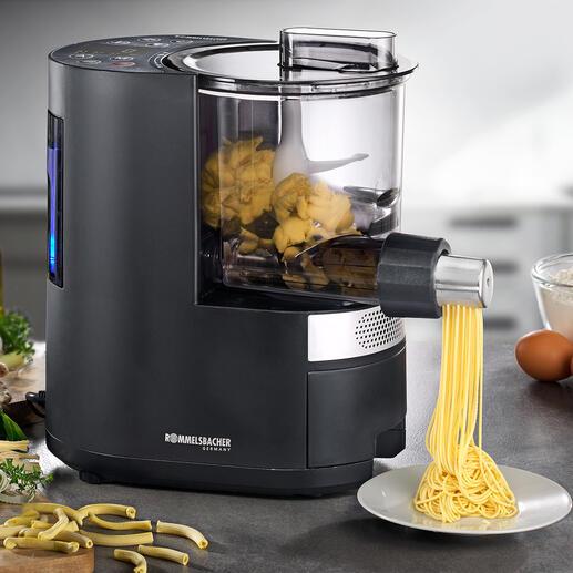 Rommelsbacher Pasta-AutomatPM220 Mischt, knetet und formt Nudelteige aus verschiedensten Mehlsorten. Vollautomatisch und auf den Punkt perfekt.