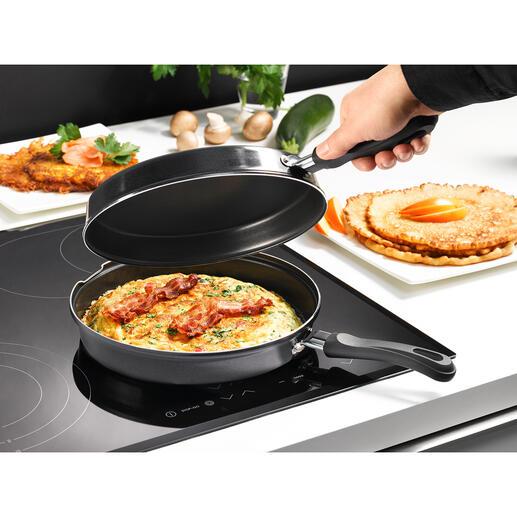 Induktions-Doppelpfanne Die Doppelpfanne zum sicheren, sauberen Omelett und Pfannkuchen backen. Nichts bricht auseinander. Nichts fällt daneben.