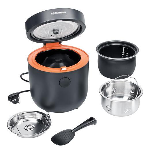 Im Lieferumfang enthalten: Reiskocher mit 2-l-Innenbehälter, Dämpfeinsatz mit Deckel, Messbecher, Servierlöffel, 100cm-Kabel.