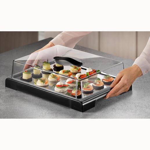 Die gekühlte Edelstahlplatte hält Ihre Speisen bis zu 4Stunden appetitlich frisch.