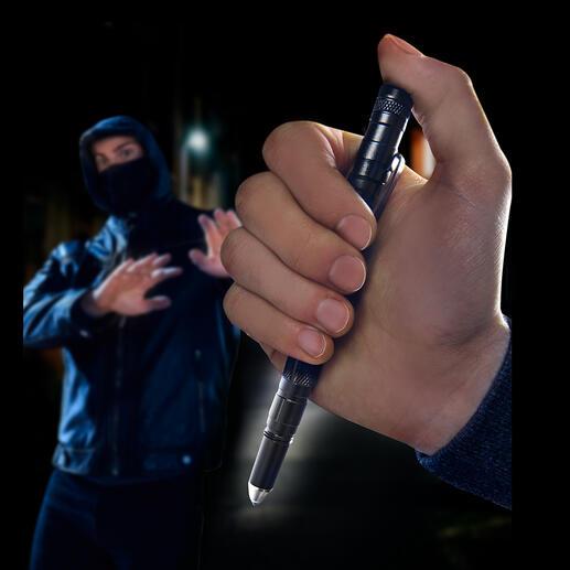 Tactical Pen 9-in-1: solider Kugelschreiber, LED-Leuchte, Glasbrecher, griffbereites Notwehr-Tool, ... Macht sich jeden Tag nützlich.