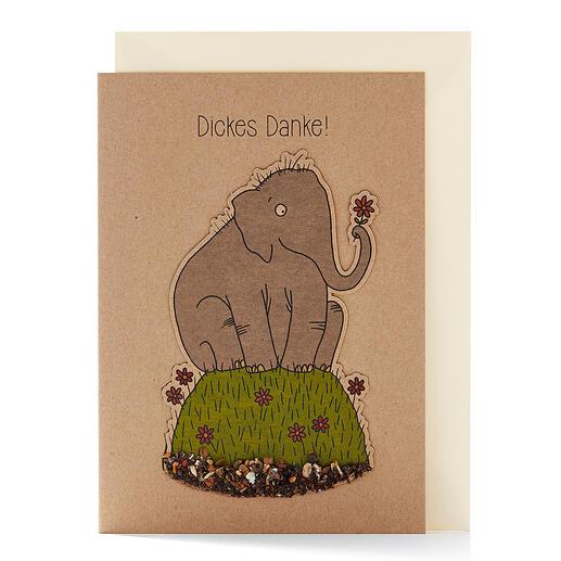 "Grußkarte ""Elefant"" mit abnehmbarem Saatstecker-Motiv."
