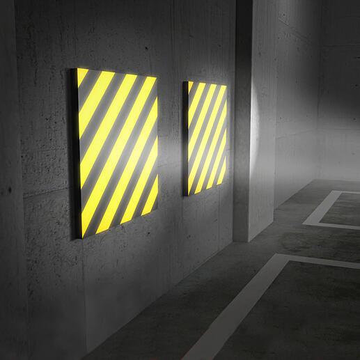Einfallendes Licht reflektiert äußerst klar auf den gelb-schwarzen Streifen - ein deutliches Plus für mehr Sicherheit beim Einparken.