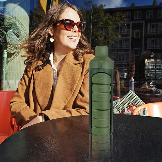 Trinkflasche mit Tablettenfach