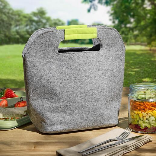 Filz-Kühltasche Außen stylisch. Innen isoliert. Die coole Mini-Kühltasche aus Filz.