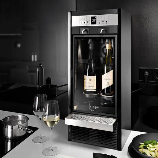 BytheGlass®Weinbar Die Weinbar der Top-Gastronomie: hält geöffnete Flaschen bis zu 3 Wochen frisch. Kühlt gradgenau und gibt exakt die gewünschte Dosiermenge aus.