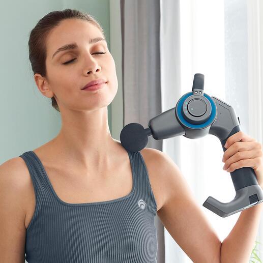 Perkussions-Massagepistole mit Schwenkarm Perkussionstherapie: das Erfolgsgeheimnis vieler US-Spitzensportler – jetzt für jedermann. Jetzt mit 45°-Knickgelenk für schwer erreichbare Körperpartien.