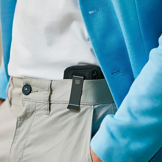 Mit dem praktischen Clip einfach innen am Hosen- oder Rockbund einhaken.