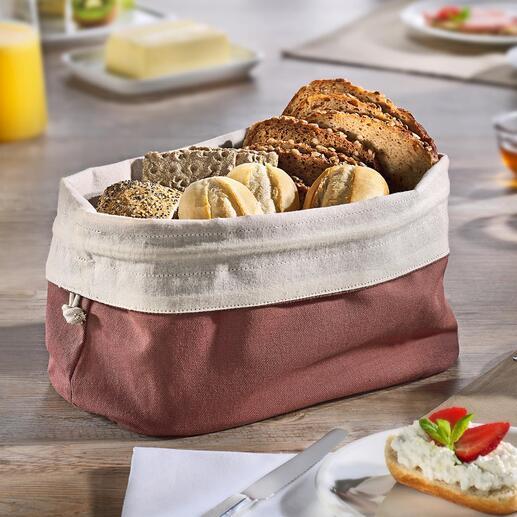 2-in-1 Brotbeutel Dekorativer Brotkorb und nachhaltiger Aufbewahrungsbeutel in einem. Aus doppellagigem Bio-Baumwoll-Gewebe: Atmungsaktiv. Krümeldicht.