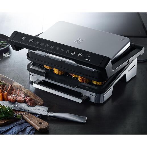 WMFKontakt-/Tischgrill Perfection Vollautomatisch: Fisch, Fleisch, Panini, ... auf den Punkt nach Wunsch gegrillt. Design- und Materialqualität von WMF.