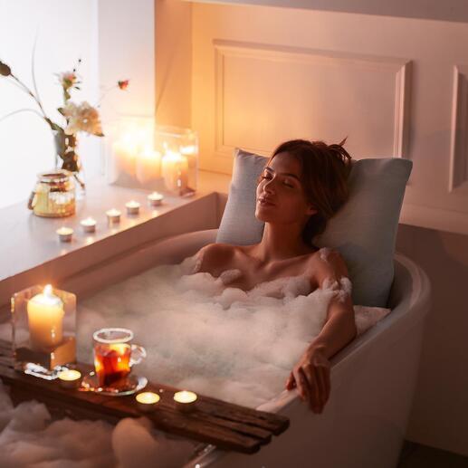 Badesofa-Kissen Das Premium-Unterwasserkissen macht Ihr Bad zum wolkenweichen Wellness-Erlebnis. Kein Wegrutschen, kein harter Wannenrücken mehr. Handgefertigt, mit textiler Haptik.