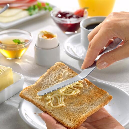 Japanisches Buttermesser Der Butterstreicher aus Japan: zieht im Nu streichfähige Fäden vom Butterstück. Kein mühsames Kratzen. Keine zerrissenen Brotscheiben.