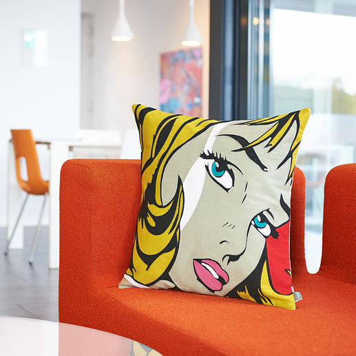 Pop-Art-Kissenhülle - In präziser Einfaden-Kettstich-Technik entsteht das starkfarbige, ikonische Dessin.