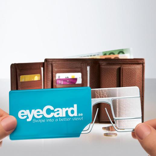 eyeCard®, 2er-Set Ihre handlichste Lupe – im Kreditkartenformat. Mit 2,5facher Vergrößerung. Und beide Hände frei.