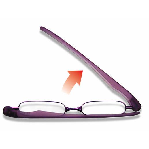 Kaum mehr als ein Handgriff: Einfach die beiden Bügel aufklappen, einen Bügel nach vorne drehen und die Gläser entfalten. Fertig.