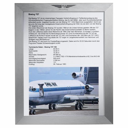 Mit jedem Turbinen-Bartisch erhalten Sie auch eine Flugzeugbeschreibung – im hochwertigen 20 x 30 cm Aluminium-Rahmen.