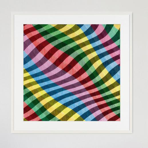 Nähern Sie sich dem Bild von vorne, sind gedeckte Farblinien zu bestaunen.
