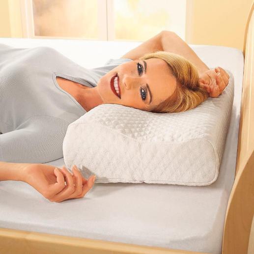 Durch die unterschiedlichen Strukturen passt sich Ihr Kissen flexibel an Kopf und Nacken an. Und die Luft kann frei um Ihr Gesicht, Ihren Kopf zirkulieren.