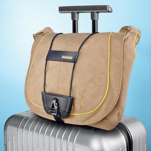 Bag Bungee befestigen Sie einfach per Clipverschluss am Tragegriff Ihres Trolleys.