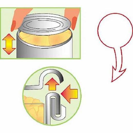 Der Dosenöffner schneidet exakt durch den Deckelrand; und rundet zugleich die Kanten.