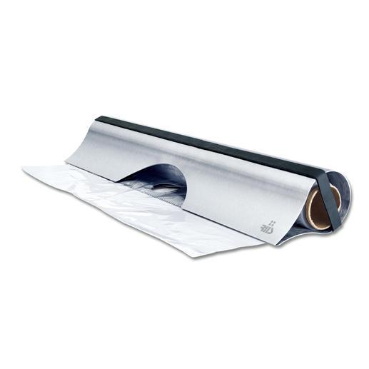 Edelstahlabroller Eleganter Edelstahl-Abroller für Alu- und Klarsichtfolie.