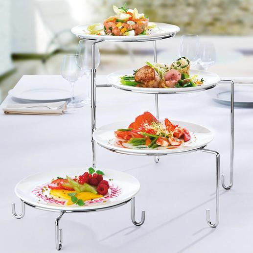 Schwenk-Etagere/Tellerhalter In einem auch Ihre praktische Teller-Stellage beim Anrichten.