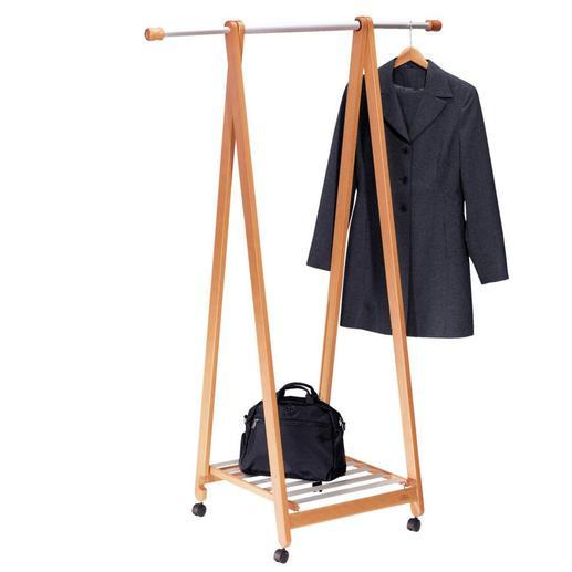 Stand-by-Garderobe mit Ablage - Stark & breit genug, um leicht 15 schwere Lederjacken oder Mäntel zu tragen. Mit praktischer Ablage und Rollen.