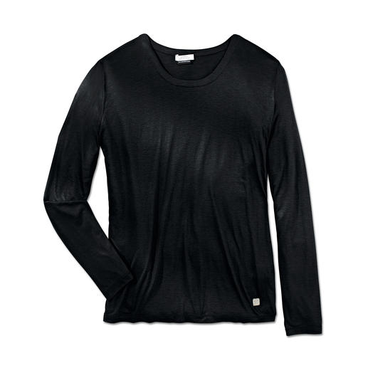 VERSACE COLLECTION Luxus-Longsleeve Best Basic zum Grau/Schwarz-Look des Frühjahrs: Versaces Luxus-Longsleeve mit Seidenglanz.