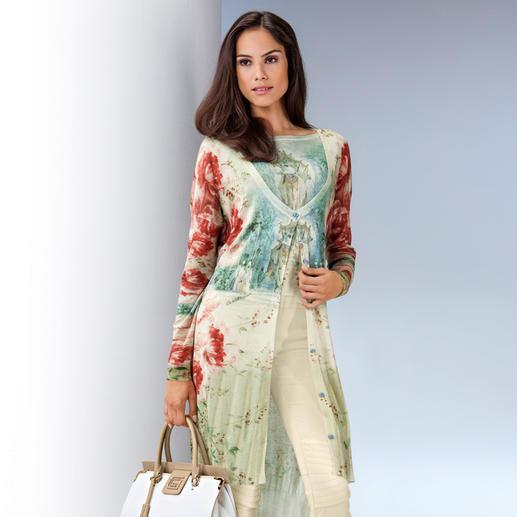 cavalli CLASS Twinset Farbenprächtige, florale Drucke. Leichte, fließende Materialien. Lässige Long-Cardigans. 3 Top-Themen, vereint in einem Twinset. Von cavalli CLASS.