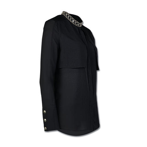 Pierre Balmain Seiden-Schmuckbluse Geschmückte Blusen stehen hoch im Kurs. Die von Balmain setzt den Trend besonders edel um.