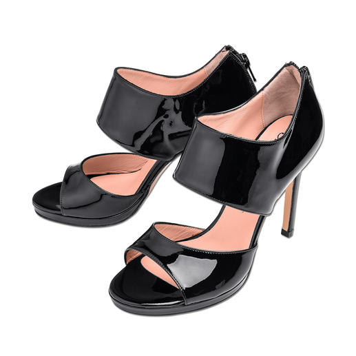 Anna F. Ankle-Sandals Ankle-Form, Lackleder, 11 cm-Absatz: High-Fashion made in Italy –