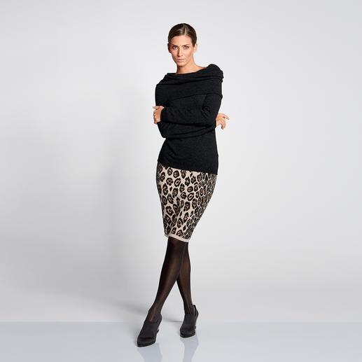 Vario-Kragen-Kaschmirpullover, Schwarz 1 Pullover – 3 Looks. Dank XXL-Vario-Kragen. Aus reinem mongolischen Kaschmir.