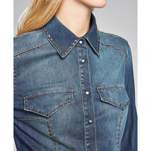 Pinko Jeansbluse Nonstop-Trend Denim-Bluse: Rustikale Optik aber supersoft ­– dank Tencel®.