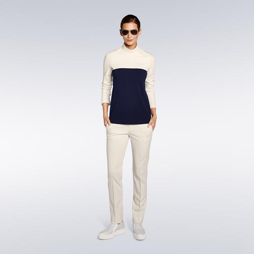 """Strenesse Slim-Pants oder Stehkragen-Shirt """"Punto Milano"""" - Selten zu finden: Ein elegantes Outfit – bequem wie Homewear. Im angesagten Clean-Chic – schon immer die Spezialität von Strenesse."""