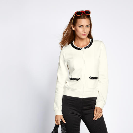 Love Moschino Sweat-Couturejacke Love Moschino macht die Sweat-Jacke zum Couture-Piece.
