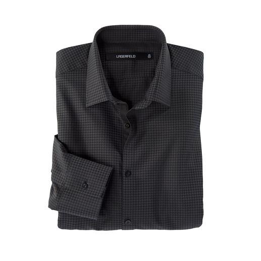 Lagerfeld Hahnentritt-Hemd Typisches Lagerfeld-Schwarz kombiniert mit modischem Minimal-Dessin.