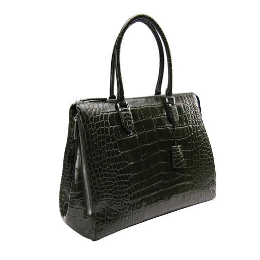 Kroko-Look-Businesstasche Die perfekte Tasche zu femininen Business-Outfits. Luxuriöse Kroko-Prägung auf glänzend poliertem Nappaleder.