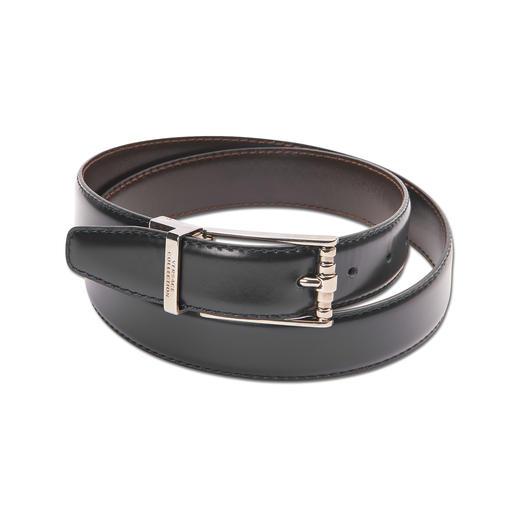 Versace Collection Wendegürtel Glänzend poliertes Leder. Und zwei schöne Seiten: Versaces Wendegürtel ist Upgrade für jedes Outfit.