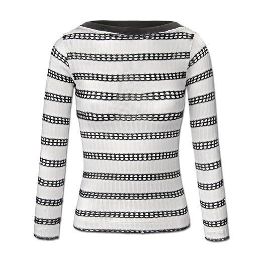 """Pinko Streifen-Pulli Marine-Streifen. Eleganter Viskose-Strick. Pinko hat den perfekten Pullover zum Trend-Thema """"Sporty-Elegance""""."""