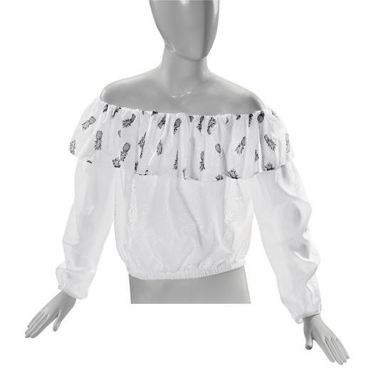 Pinko Ananas-Bluse Off-Shoulder-Form, Rüsche und süße Früchtchen: 3-fach trendy und doch nicht too much.