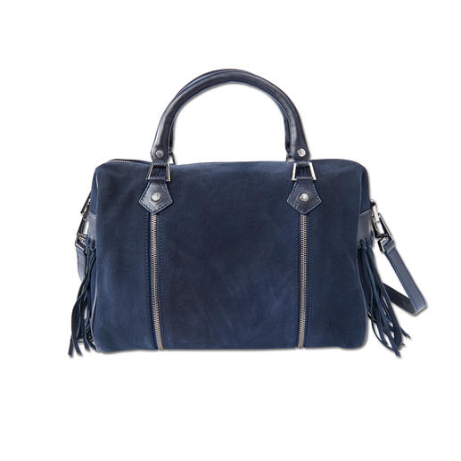 Zadig & Voltaire Bowling-Bag Trendsetter unter den Taschen: Bowling-Form + Blau + Fransen.