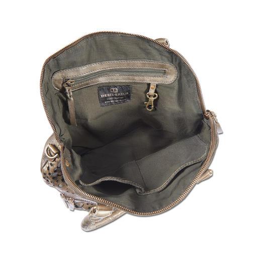 Desiderius Nieten-Shopper Nieten. Perforiertes Leder. Military-Green: Taschen-Trend hoch 3.