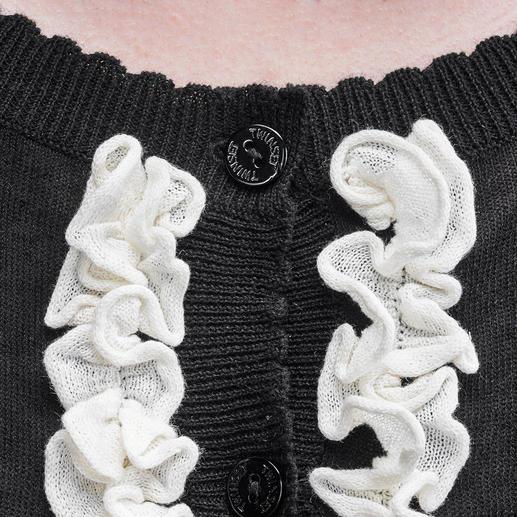 TWINSET Couture-Cardigan Dauertrend Schwarz/Weiß: Jetzt verspielt verziert mit angesagten Rüschen. Der Couture-Cardigan von TWINSET.