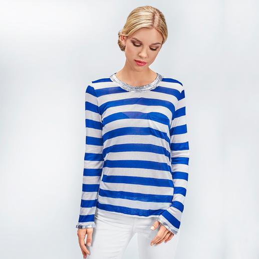 Zadig & Voltaire Metallic-Paint- Streifenshirt Trend-Upgrade für das kultige Metallic-Paint-Shirt von Zadig & Voltaire: maritime Streifen.