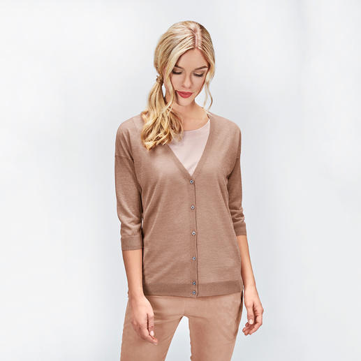 Gran Sasso Hauchstrick-Cardigan Transparenz, Metallic-Look, Boyfriend-Form: High-Fashion-Strick made in Italy. Und doch erfreulich günstig.