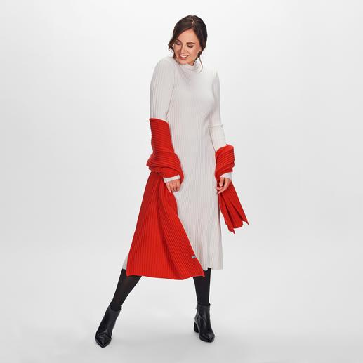 Strenesse Rippstrick-Kleid - Top-Trends: Strickkleider, Rippenstrick und die Farbe Offwhite. Perfekt kombiniert von Strenesse - eleganter und femininer als viele andere.