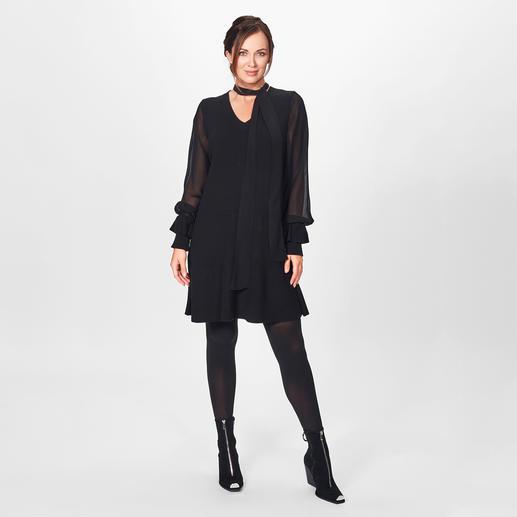 TWINSET Black-Dress - Modische Allianz aus Strick, seidig fließender Viskose und Statement-Ärmeln: das vielseitige Black-Dress von TWINSET.